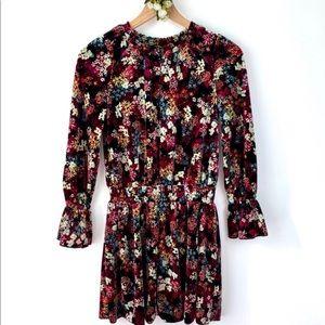 ELLA MOSS Girl's Velvet Floral Smocked LS Dress 8